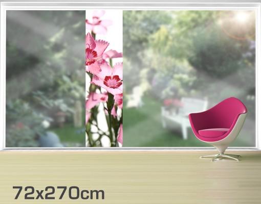 Produktfoto Fensterfolie - XXL Fensterbild Pink Flowers - Fenster Sichtschutz
