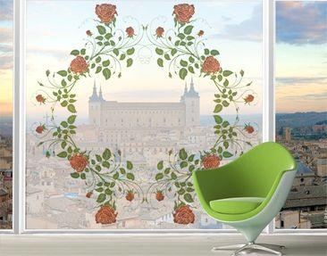 Produktfoto Fensterfolie - XXL Fensterbild Rosenkranz - Fenster Sichtschutz