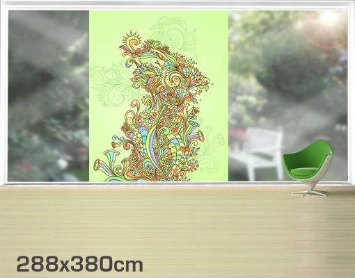 Produktfoto Fensterfolie - XXL Fensterbild Florale Illustration - Fenster Sichtschutz