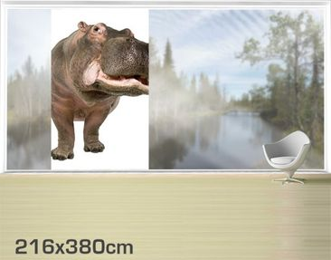 Product picture XXL Window Mural Hippo II