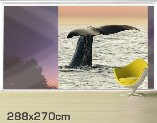 Produktfoto Fensterfolie - XXL Fensterbild Wal beim Tauchgang - Fenster Sichtschutz