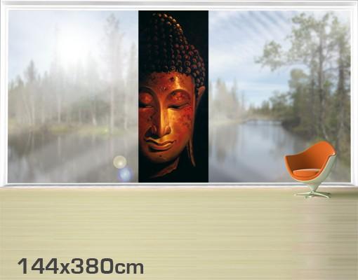Produktfoto Fensterfolie - XXL Fensterbild Madras Buddha - Fenster Sichtschutz