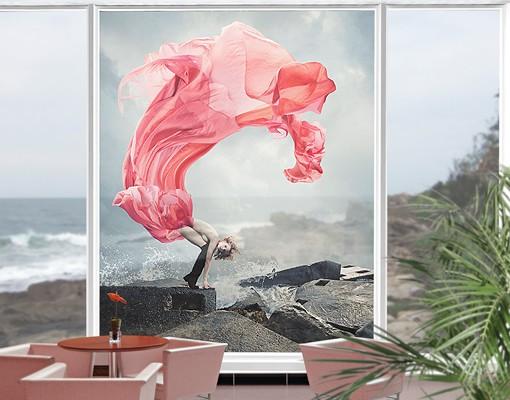Fensterfolie - XXL Fensterbild Frau am...