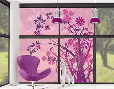 Produktfoto Fensterfolie - XXL Fensterbild Florales Ornament - Fenster Sichtschutz