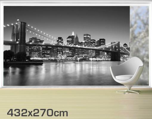 Produktfoto Fensterfolie - XXL Fensterbild Brooklyn Brücke in New York II - Fenster Sichtschutz