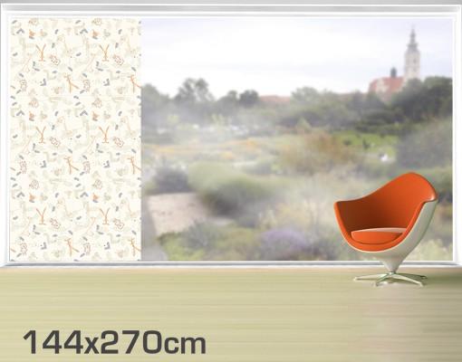 Produktfoto Fensterfolie - XXL Fensterbild Pastel Plushies - Fenster Sichtschutz