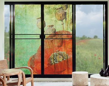 Produktfoto XXL Window Mural Poppy Stalks