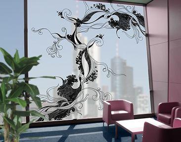 Produktfoto Fensterfolie - XXL Fensterbild Ranke in Tusche - Fenster Sichtschutz