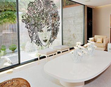 Produktfoto Fensterfolie - XXL Fensterbild Blumen im Haar - Fenster Sichtschutz