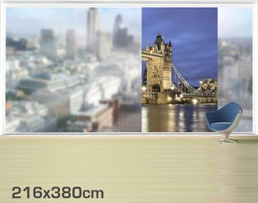 Product picture XXL Window Mural Tower Bridge At Night