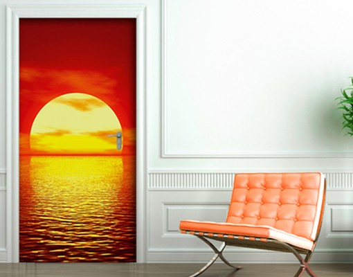 fototapete t r papier red sunset 100x210cm. Black Bedroom Furniture Sets. Home Design Ideas