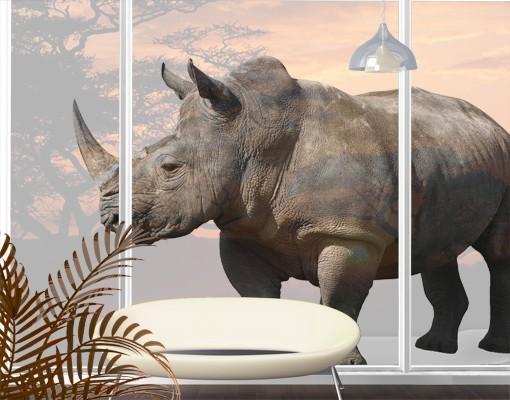 Produktfoto Fensterfolie - XXL Fensterbild Nashorn - Fenster Sichtschutz