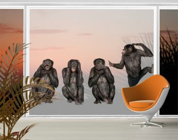 Product picture XXL Window Mural Clique Of Monkeys