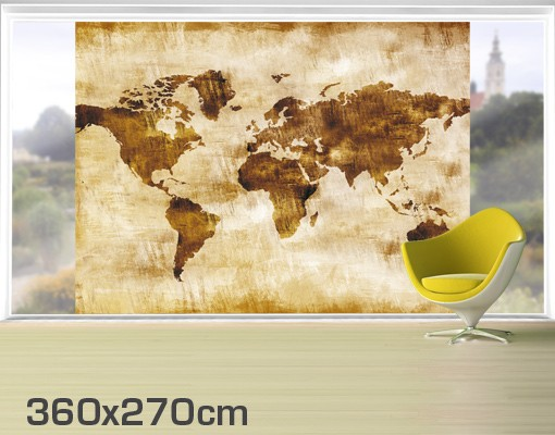 Produktfoto Fensterfolie - XXL Fensterbild No.CG75 Map Of The World - Fenster Sichtschutz