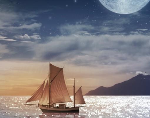 Produktfoto Fensterfolie - XXL Fensterbild Moon Night Sea - Fenster Sichtschutz