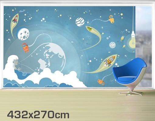 Produktfoto Fensterfolie - XXL Fensterbild No.MW16 Buntes Weltraumtreiben - Fenster Sichtschutz