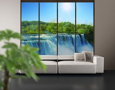 Product picture XXL Window Mural Waterfall Landscape