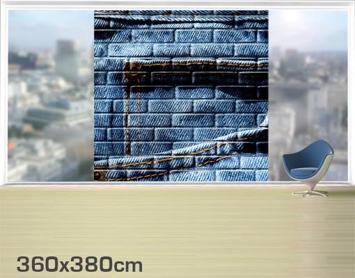 Produktfoto Fensterfolie - XXL Fensterbild Jeanswall - Fenster Sichtschutz