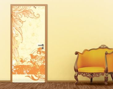 "Immagine del prodotto Carta da parati per porte no.28 ""GRUNGE ORANGE SCROLL"" 100x210cm"