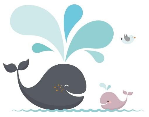 Produktfoto Fensterfolie - Fenstersticker No.EK146 Happy Whales - Fensterbilder