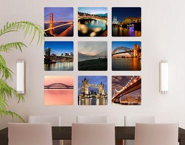 Produktfoto Selbstklebendes Wandbild Brücken der Welt 9-teilig