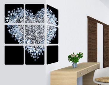 Produktfoto Selbstklebendes Wandbild Diamant Herz 9-teilig