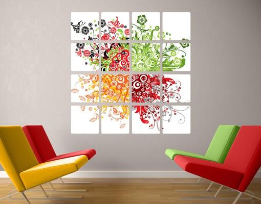 Produktfoto Selbstklebendes Wandbild Retro Flowers 16-teilig