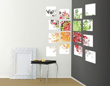 Product picture Wall Mural Retro Flowers 16-parts