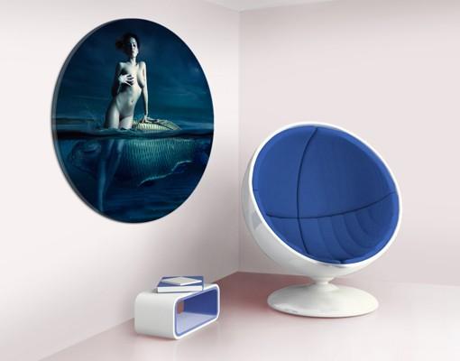 Produktfoto Leinwandbild Kreis Frauenakt mit Fisch