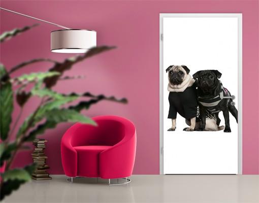 "Produktfoto Fototapete Tür - Papier No.38 ""POSH PUG DOGS"" 100x210cm"