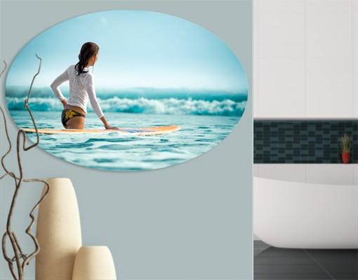 Produktfoto Leinwandbild Oval Wellenreiterin