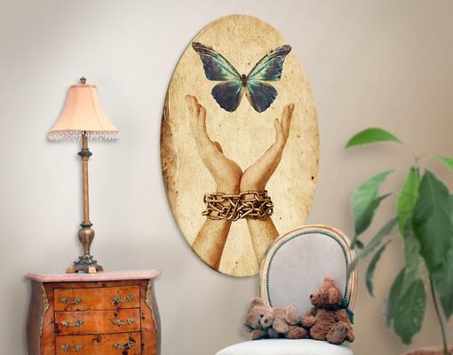 Leinwandbild Oval Flieg, Schmetterling!