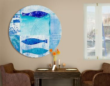 Product picture Canvas Art Circle Fish In The Blue