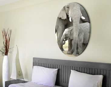 Product picture Canvas Art Oval Elephants in Love