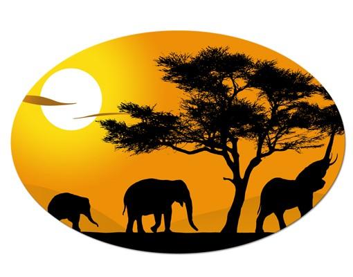 Produktfoto Afrika Leinwandbild Oval African Elefant Walk