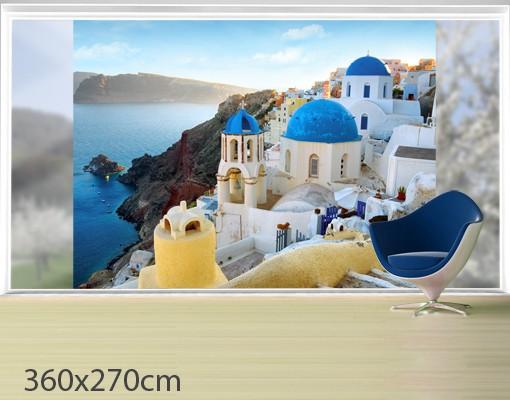 Produktfoto Fensterfolie - XXL Fensterbild Santorini - Fenster Sichtschutz