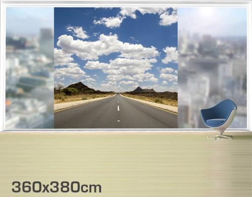 Produktfoto Fensterfolie - XXL Fensterbild Route 66 - Fenster Sichtschutz