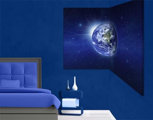 Produktfoto Eckleinwandbild Erde im Weltall 1:1