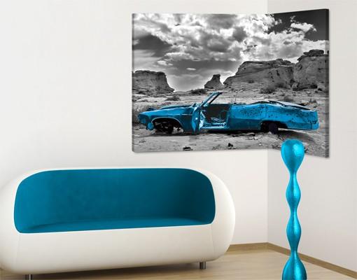 Produktfoto Eckleinwandbild Türkiser Cadillac 2:1