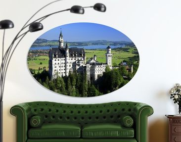 Product picture Canvas Art Oval Neuschwanstein Castle