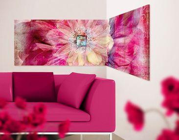 Produktfoto Corner Canvas Art Grunge Flower Panorama...