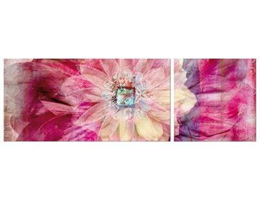 Product picture Corner Canvas Art Grunge Flower Panorama...