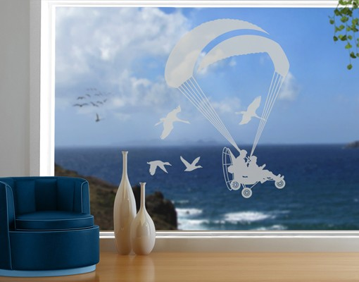 Produktfoto Fensterfolie - Fenstertattoo No.1214 Powered Paragliding - Milchglasfolie