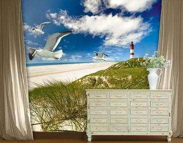 "Produktfoto Papiertapete - Fototapete No.168 ""LIGHTHOUSE IN DUNES"" 300x280cm"