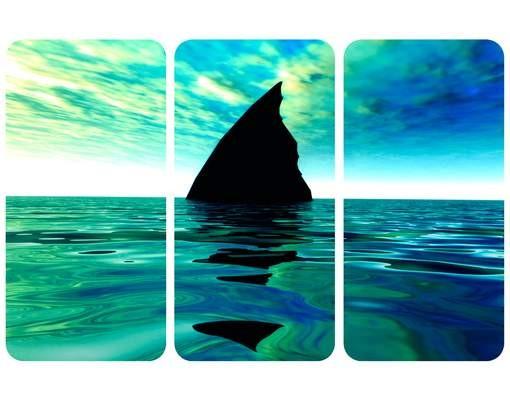 Produktfoto Selbstklebendes Wandbild Shark Attack Triptychon I
