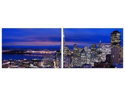 Produktfoto Eckleinwandbild San Francisco At Night Panorama 1:1