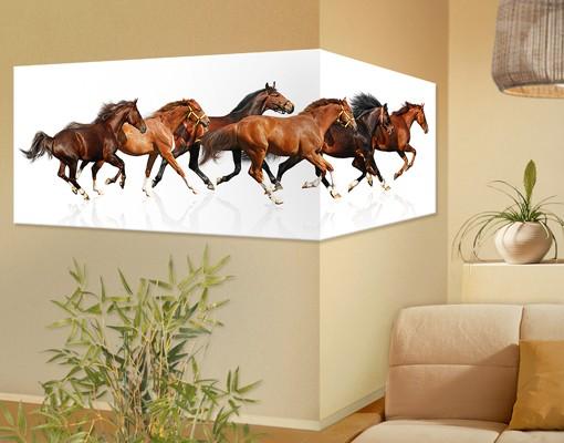 Produktfoto Eckleinwandbild Pferdeherde Panorama 2:1