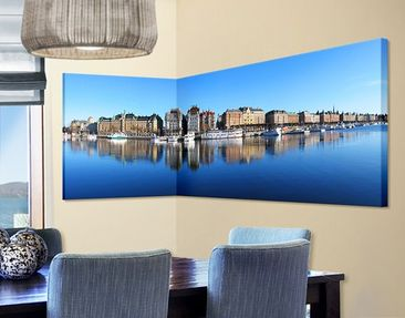 Product picture Corner Canvas Art Stockholm Panorama 1:2