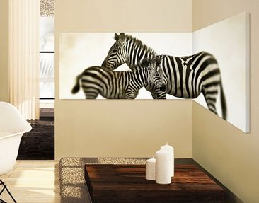 Product picture Corner Canvas Art Zebra Pair Panorama...