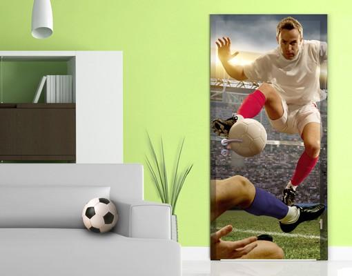 Produktfoto Kinderzimmer Türtapete selbstklebend - Fußballtaktik